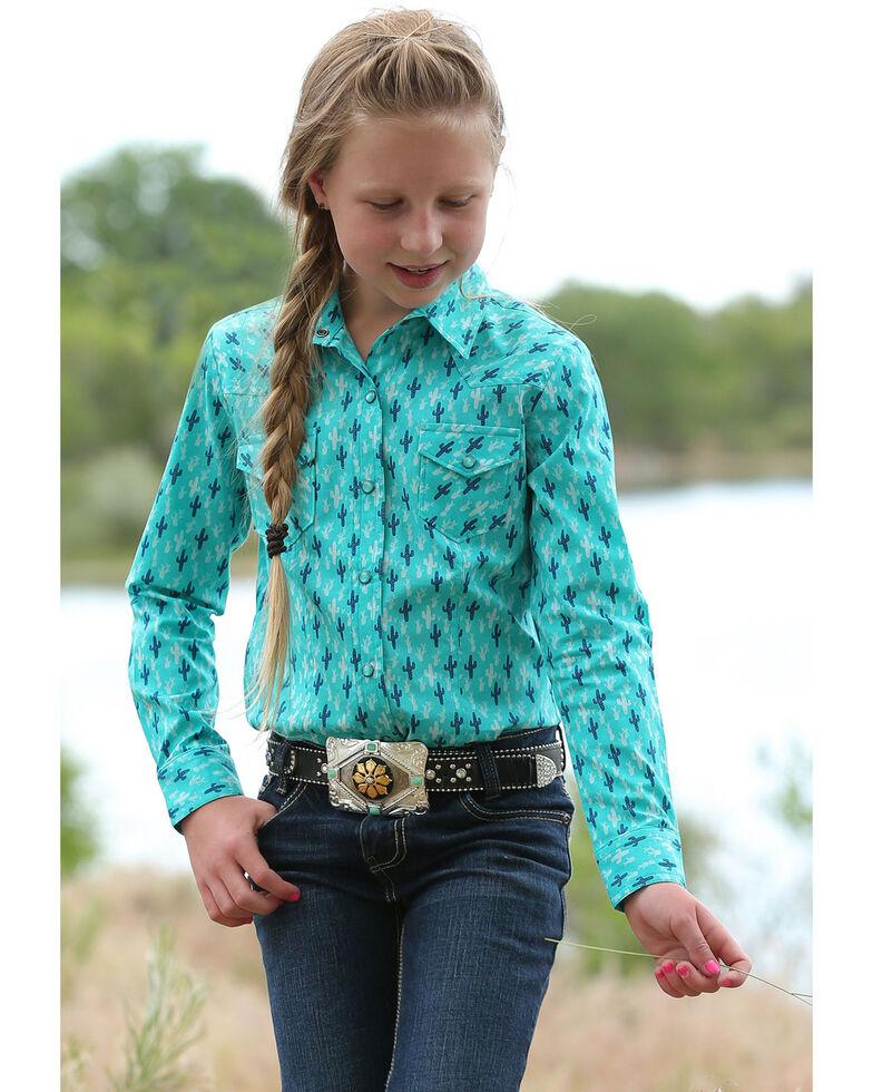 Cruel Girl Girls' Teal Cactus Print Snap Long Sleeve Western Shirt, Teal, hi-res