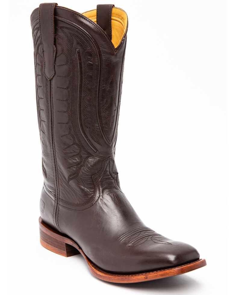 Twisted X Men's Rancher Western Boots - Wide Square Toe, Dark Brown, hi-res