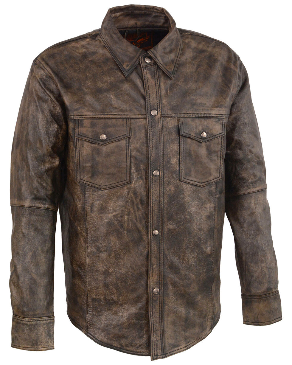 Milwaukee Leather Men's Distressed Brown Light Leather Snap Front Shirt - 4X, Black/tan, hi-res