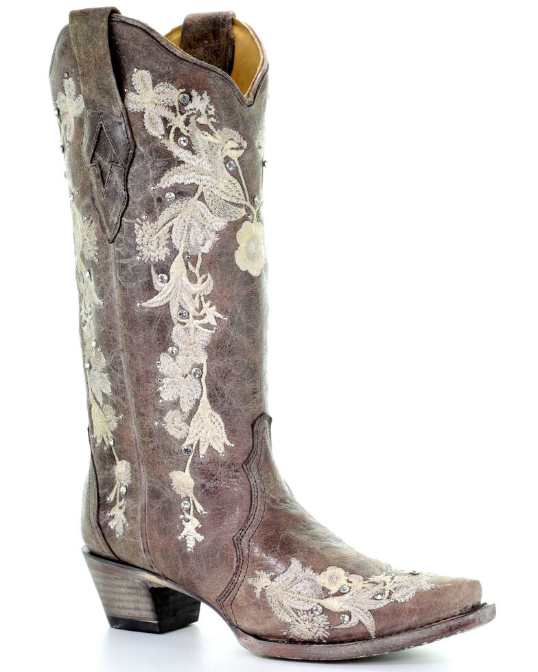 Corral Women's Flower Embroidery Western Boots - Snip Toe, Coffee, hi-res