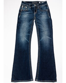 Miss Me Girls' Horseshoe Bootcut Jeans, Blue, hi-res