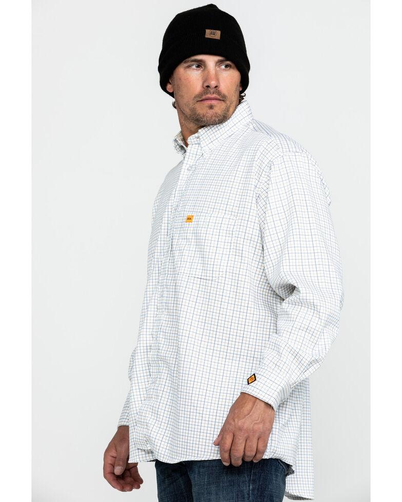 Wrangler 20X Men's FR Tattersall Small Check Print Long Sleeve Work Shirt - Tall , Blue, hi-res