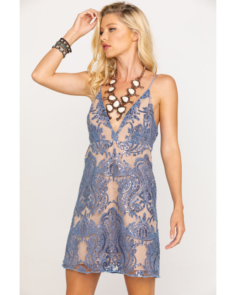 Free People Women's Night Shimmers Dress, Blue, hi-res