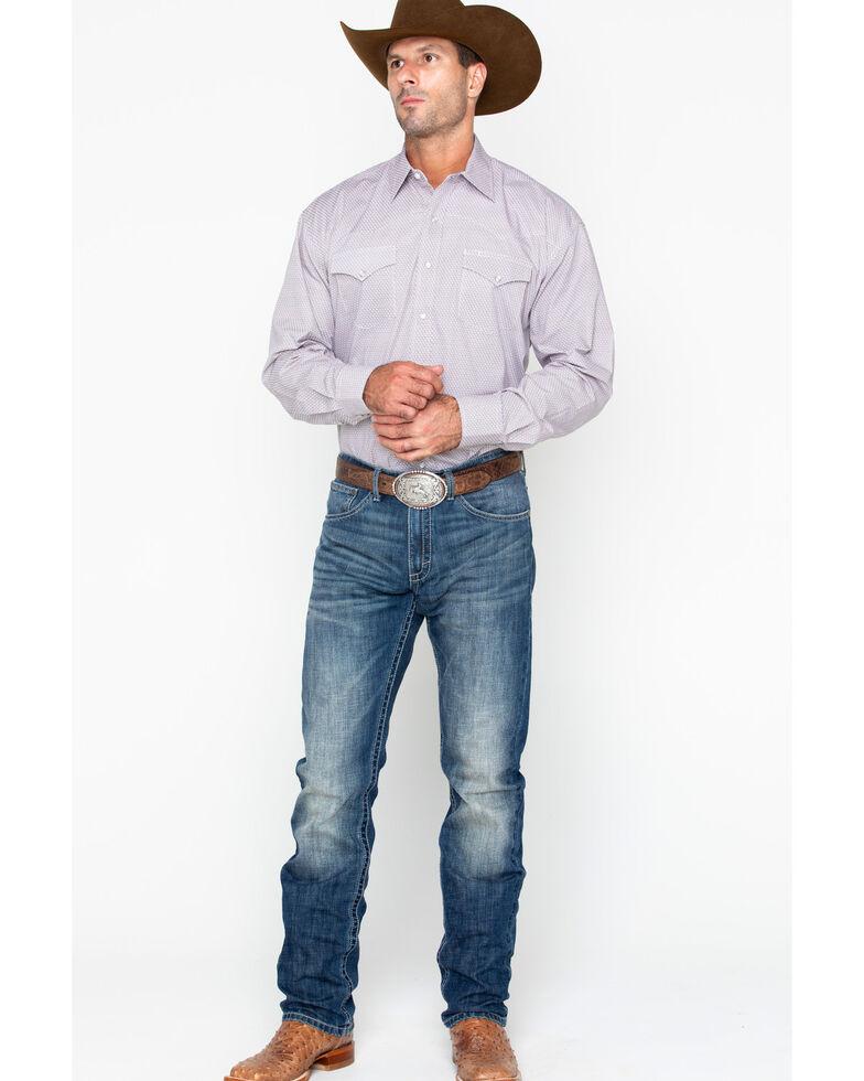 Stetson Men's Small Plaid Long Sleeve Western Shirt, Orange, hi-res