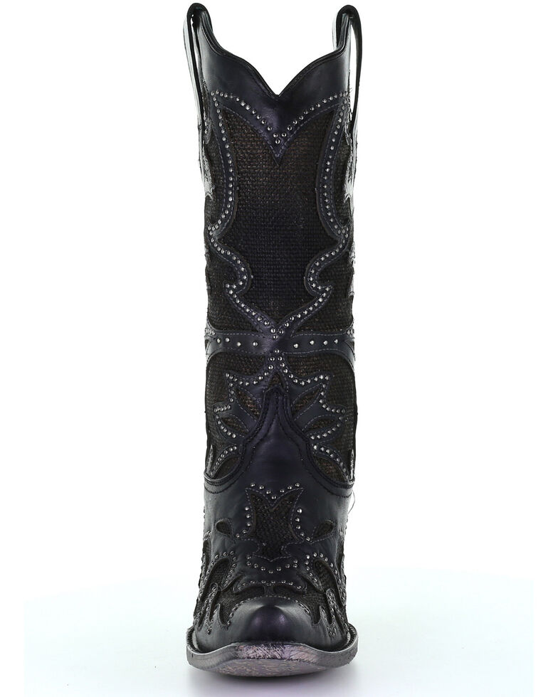Corral Women's Black Inlay Western Boots - Snip Toe, Black, hi-res