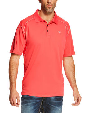 Ariat Men's Geranium Tek Polo Shirt, Pink, hi-res
