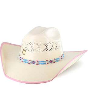 Charlie 1 Horse Girls' Gracie Straw Hat, Natural, hi-res