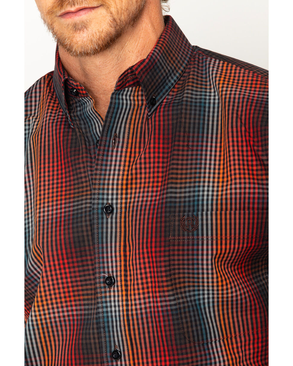 Panhandle Men's Red Poplin Check Button Down Shirt , Red, hi-res