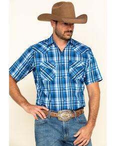 Ely Cattleman Men's Blue Med Plaid Short Sleeve Western Shirt , Blue, hi-res