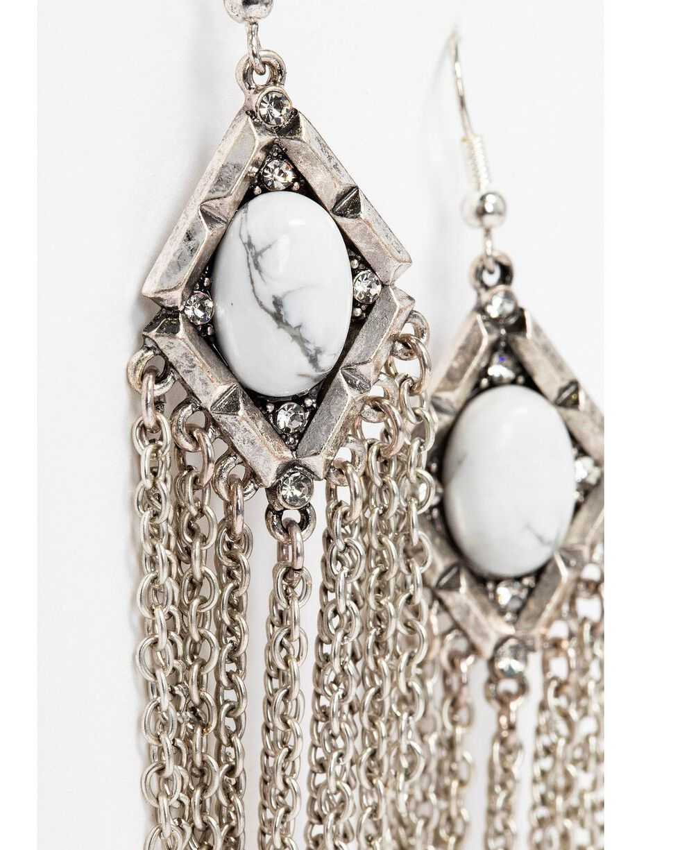 Idyllwind Women's Dare To Dream White Turquoise Fringe Earrings, Silver, hi-res