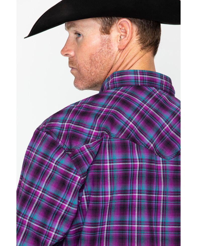 Wrangler 20X Men's Purple Plaid Advanced Comfort Long Sleeve Western Shirt  , Black/purple, hi-res