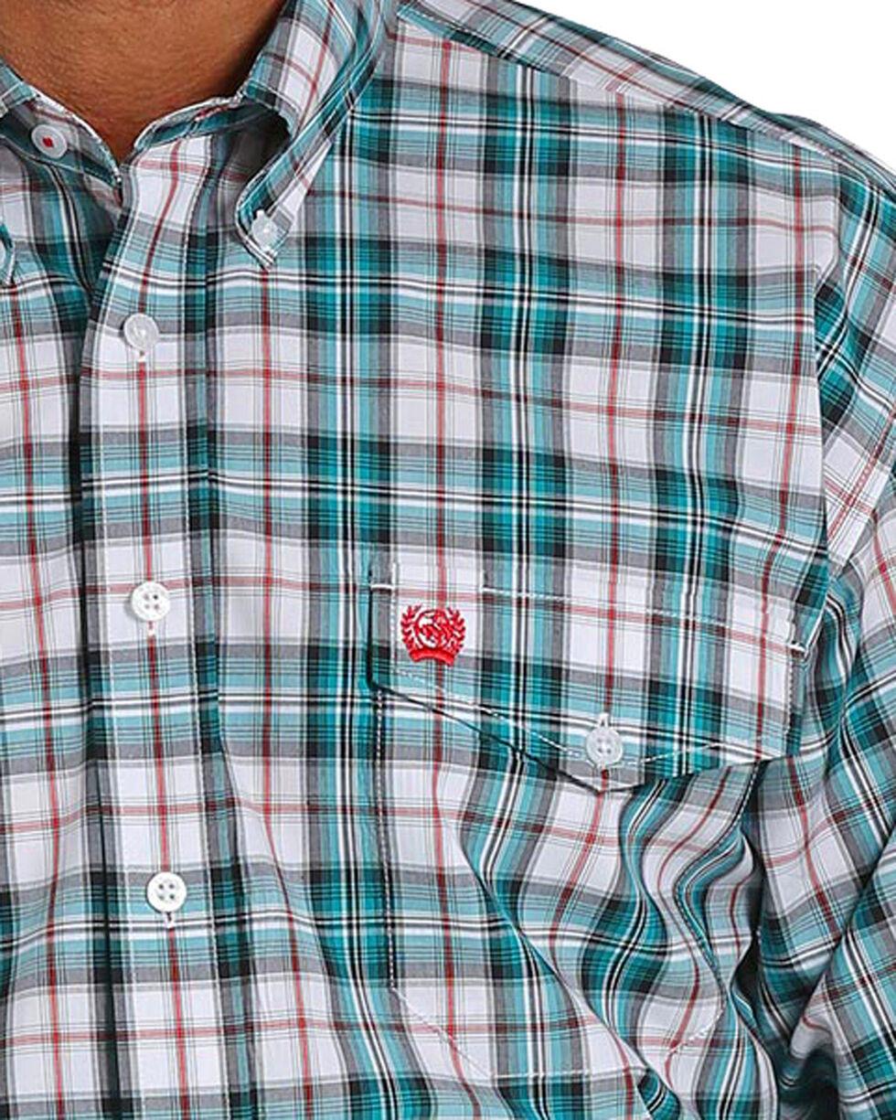 Cinch Men's Double Pocket Plaid Long Sleeve Button Down Shirt, White, hi-res