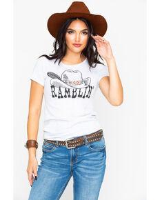 31f56a1b10515 Rock   Roll Cowgirl Ramblin Hat   Feather Graphic T-Shirt
