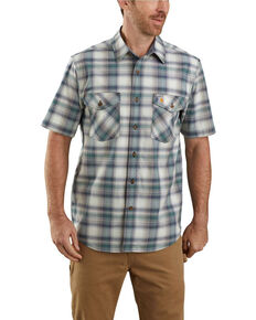 Carhartt Men's Green Rugged Flex Bozeman Plaid Short Sleeve Work Shirt - Big , Green, hi-res