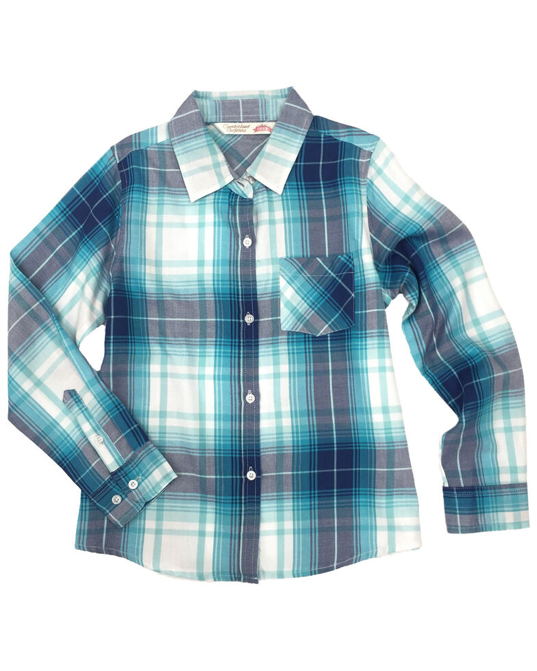 Ely Cattleman Girls' Teal Plaid Tie Front Long Sleeve Western Shirt , Teal, hi-res