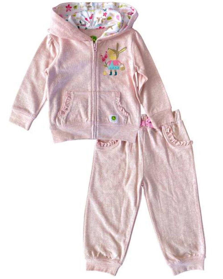 John Deere Infant Girls' Pink Bunny Hooded Sweatsuit 2-piece Set, Pink, hi-res