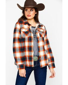 Ely Cattleman Plaid Sherpa Lined Long Sleeve Western Flannel Shirt , Rust Copper, hi-res