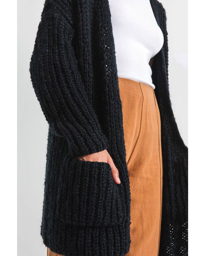 Rag Poets Women's Cable Knit Pocket Cardi Sweater , Black, hi-res