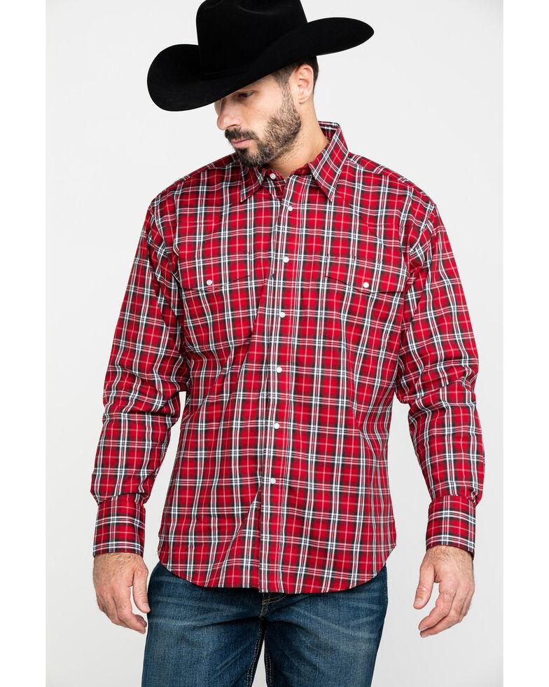 Wrangler Men's Med Plaid Wrinkle Resistant Long Sleeve Western Shirt , Red, hi-res