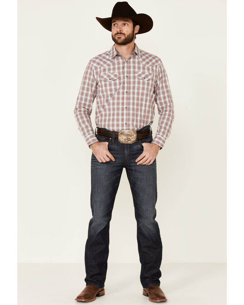 Cody James Men's Nation Small Plaid Long Sleeve Snap Western Shirt , Red, hi-res