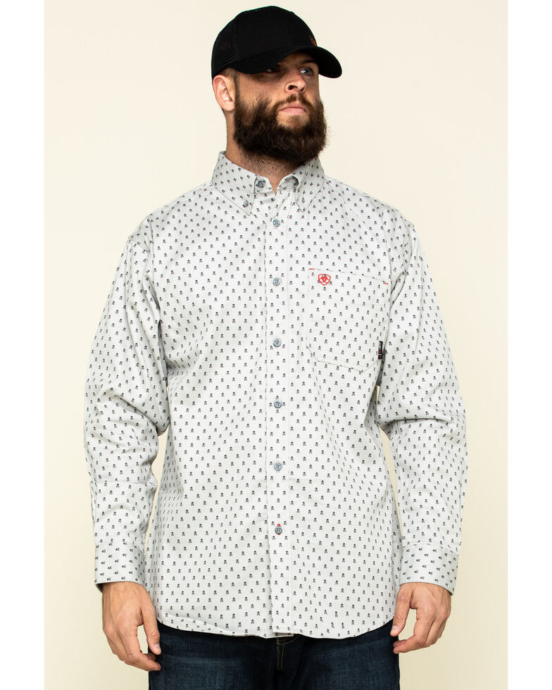 Ariat Men's FR Calico Jack Geo Print Long Sleeve Work Shirt - Tall , Blue, hi-res
