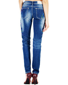 Grace in LA Women's Floral Embroidery Skinny Jeans, Indigo, hi-res