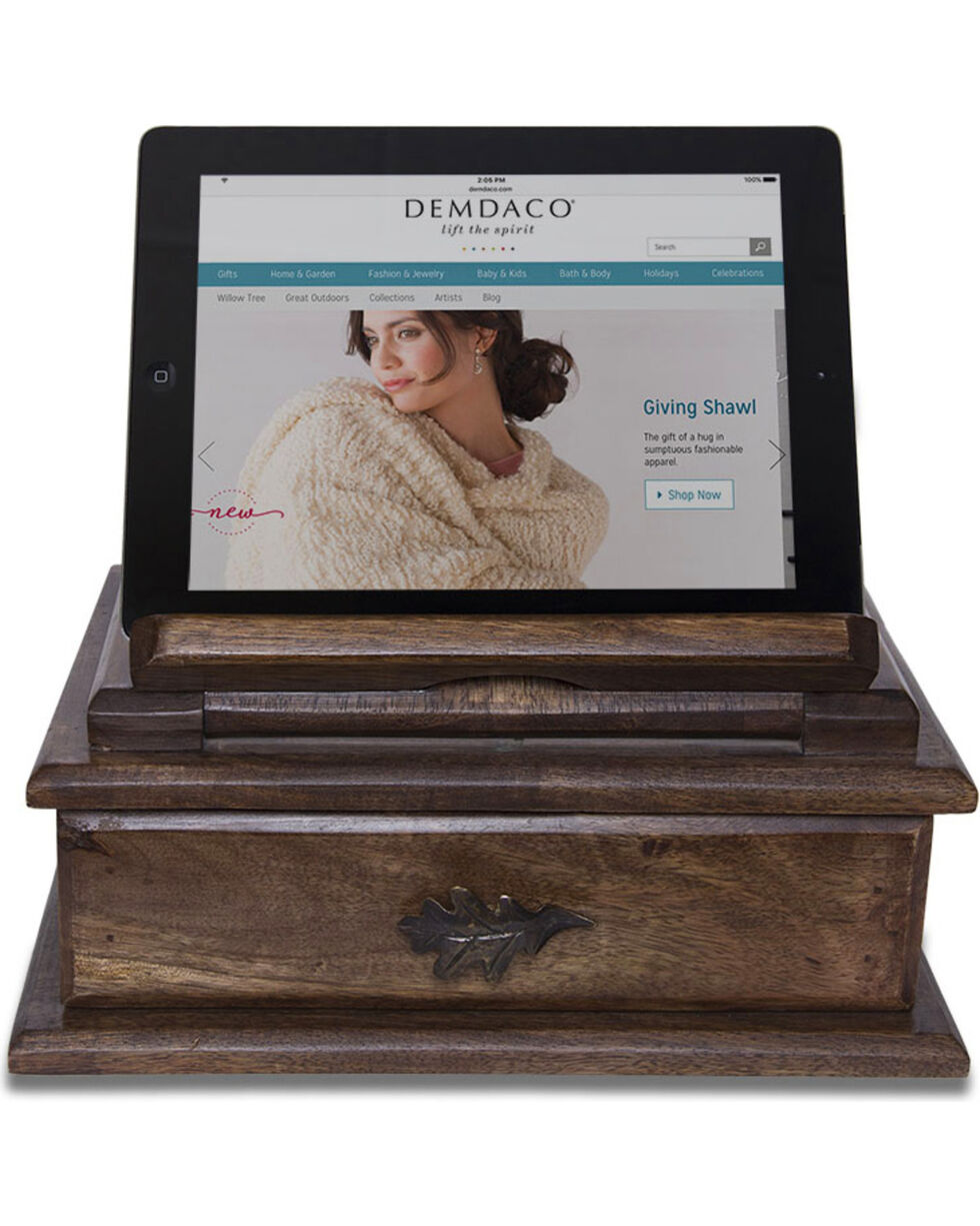 Big Sky Carvers Oak Leaf Tablet Stand Valet Box, Brown, hi-res