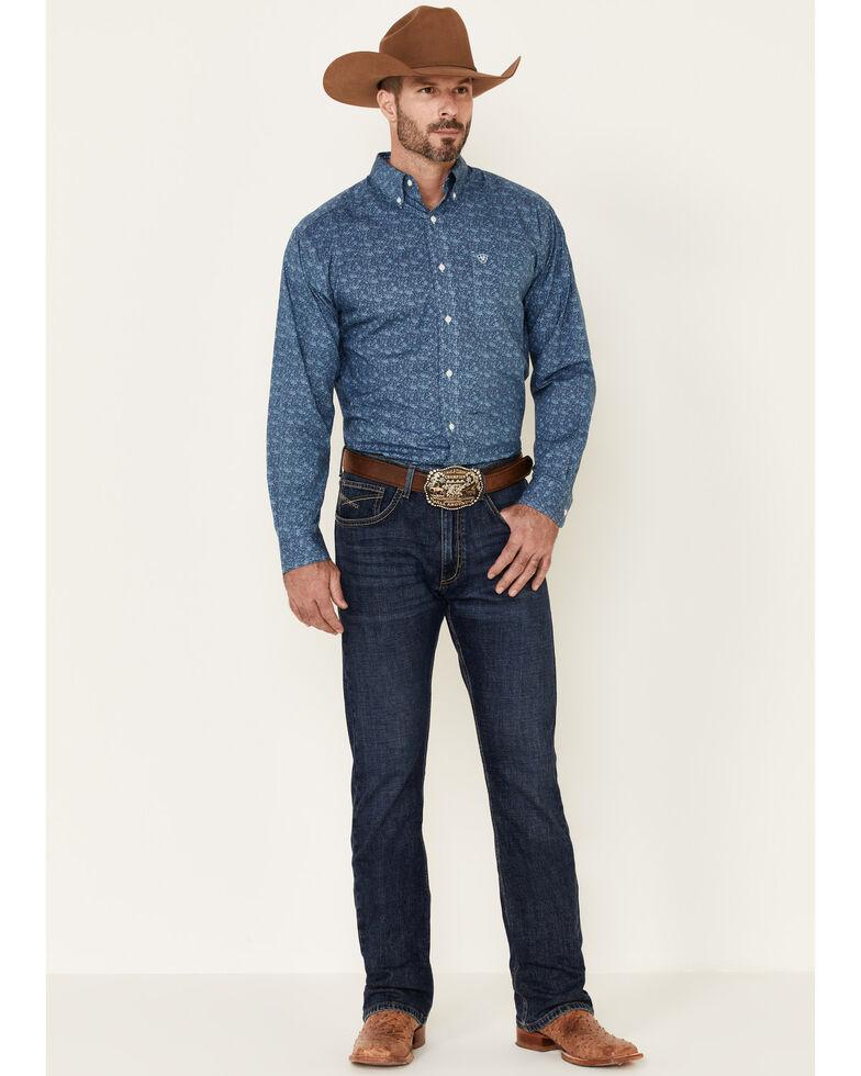Ariat Men's Wrinkle Free Mallard Floral Print Long Sleeve Western Shirt , Blue, hi-res