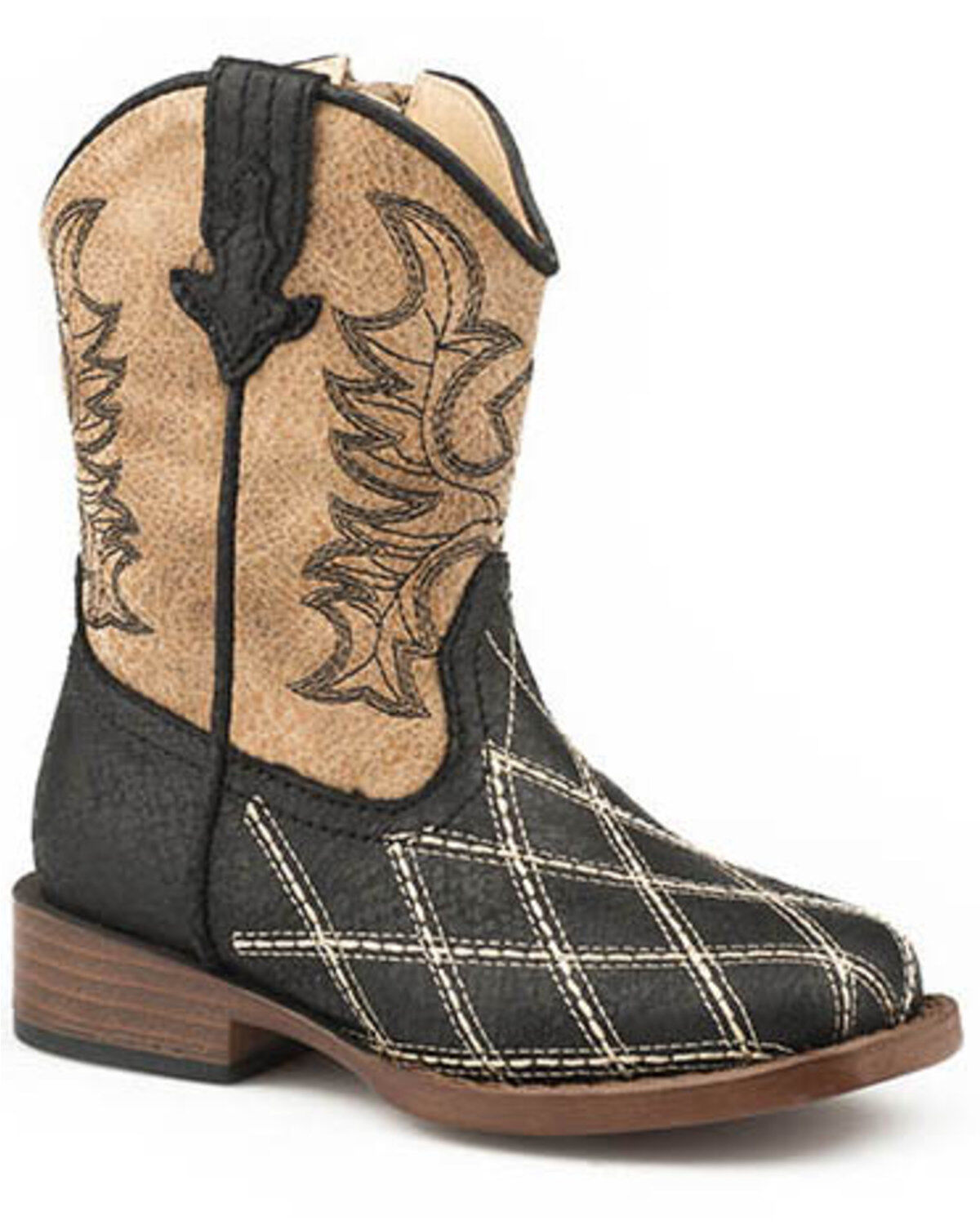 Toddler Girls BLACK COWBOY BOOTS Mock Leather ROUND TOE Western  2 3 4 5 6