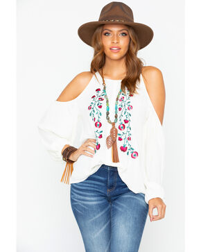 Rock & Roll Cowgirl Women's Folk Floral Embroidered Blouse , Ivory, hi-res