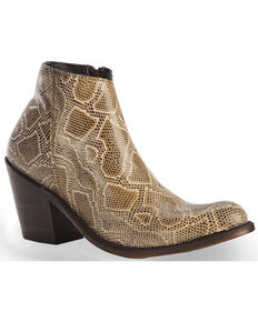 Liberty Black Women's Breton Snake Print Booties - Medium Toe, Beige/khaki, hi-res