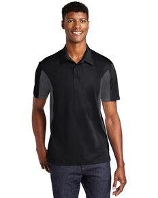Sport Tek Men's Black & Iron Grey Side Color Blocked Sport Wick Short Sleeve Polo Work Shirt , Black, hi-res