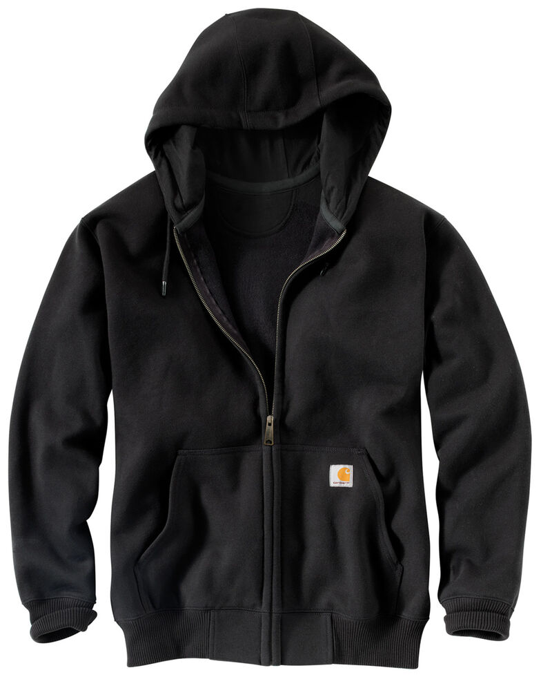 Carhartt Men's Rain Defender Paxton Heavyweight Zip Front Hooded Work Sweatshirt , Black, hi-res