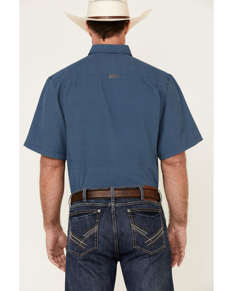 Panhandle Men's Blue Geo Print Performance Short Sleeve Western Shirt , Blue, hi-res