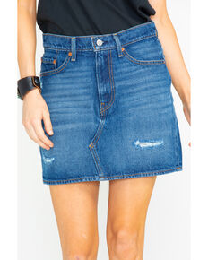 Levis Women's Middle Avenue Med Wash Denim Skirt , Blue, hi-res