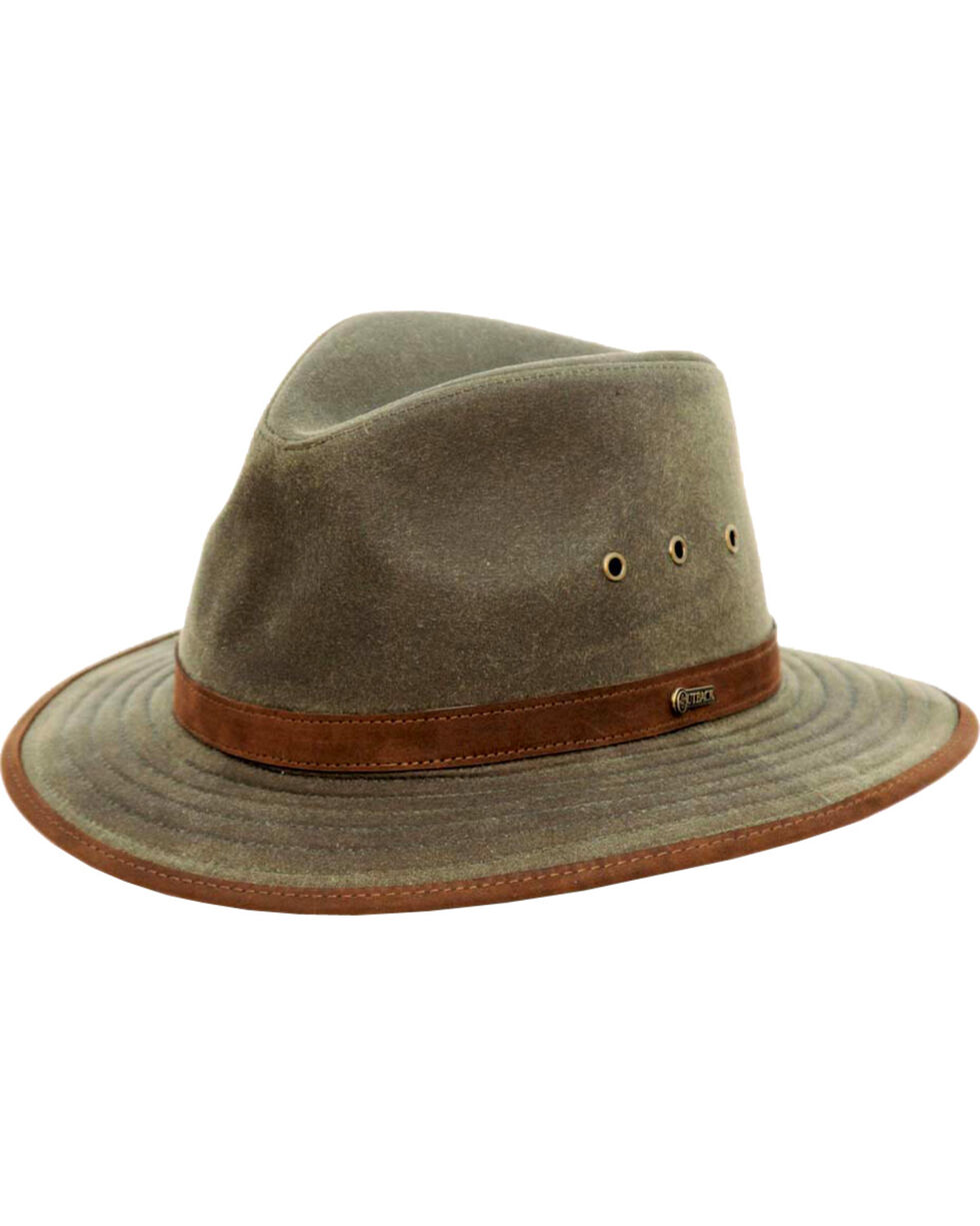 Outback Trading Co. Tan Madison River UPF50 Sun Protection Oilskin Hat, Sage, hi-res