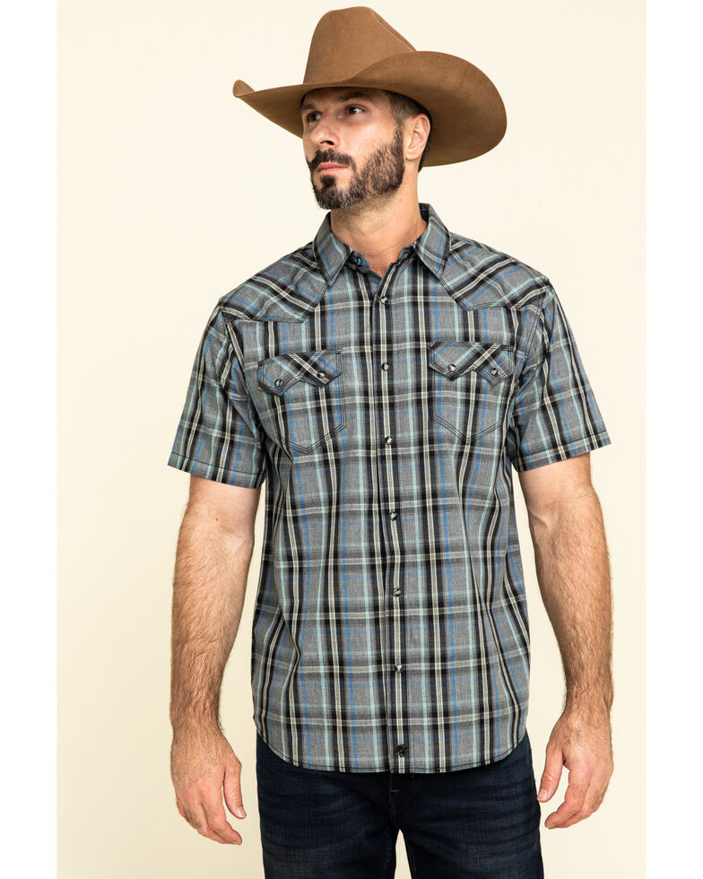 Moonshine Spirit Men's Storm Plaid Short Sleeve Western Shirt , Grey, hi-res