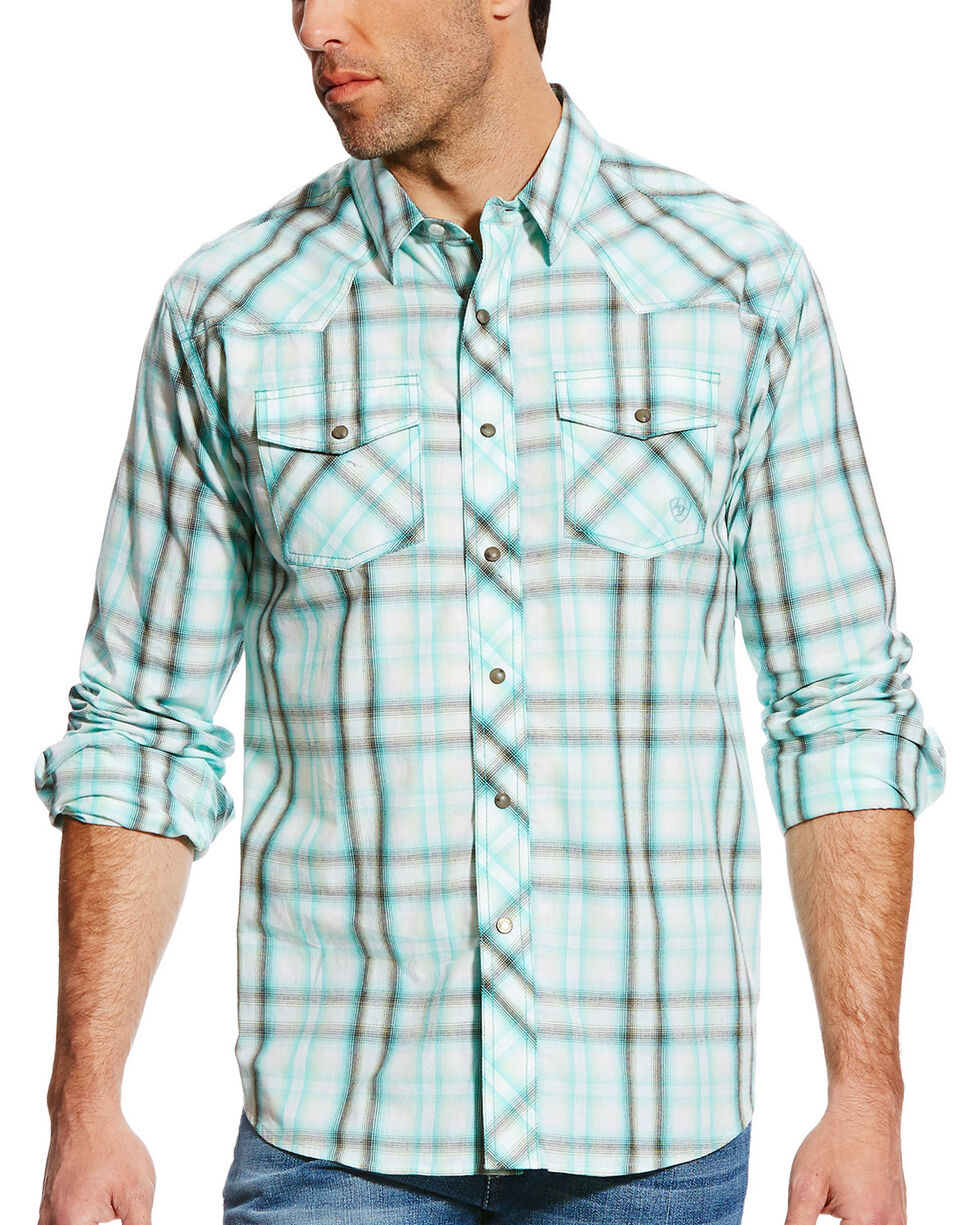 Ariat Men's Turquoise Irvan Retro Long Sleeve Shirt , Turquoise, hi-res