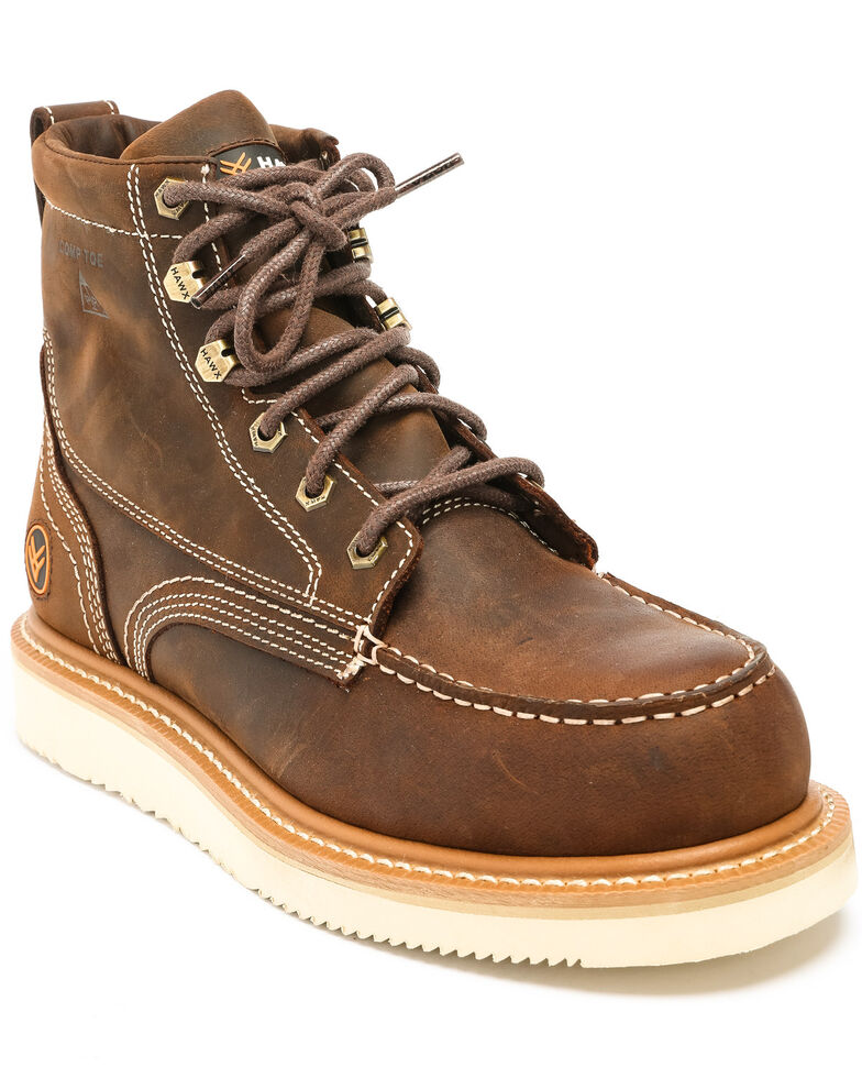Hawx Men's Grade Moc Distressed Wedge Work Boots - Composite Toe, Distressed Brown, hi-res
