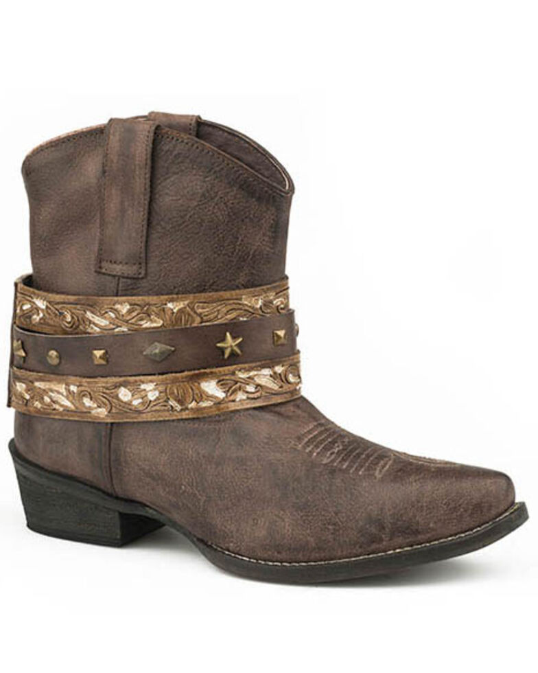 Roper Women's Tumbled Brown Western Boots - Round Toe, Brown, hi-res