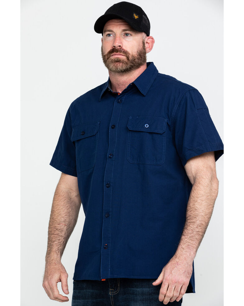 Hawx Men's Navy Solid Yarn Dye Two Pocket Short Sleeve Work Shirt - Tall , Navy, hi-res