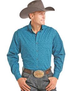 Tuf Cooper Men's Turquoise Geo Print Long Sleeve Western Shirt , Turquoise, hi-res