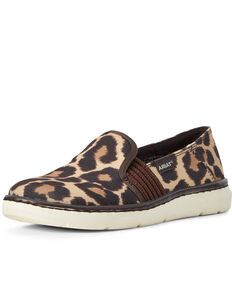 Ariat Women's Ryder Slip-On Leopard Shoes - Round Toe, Brown, hi-res