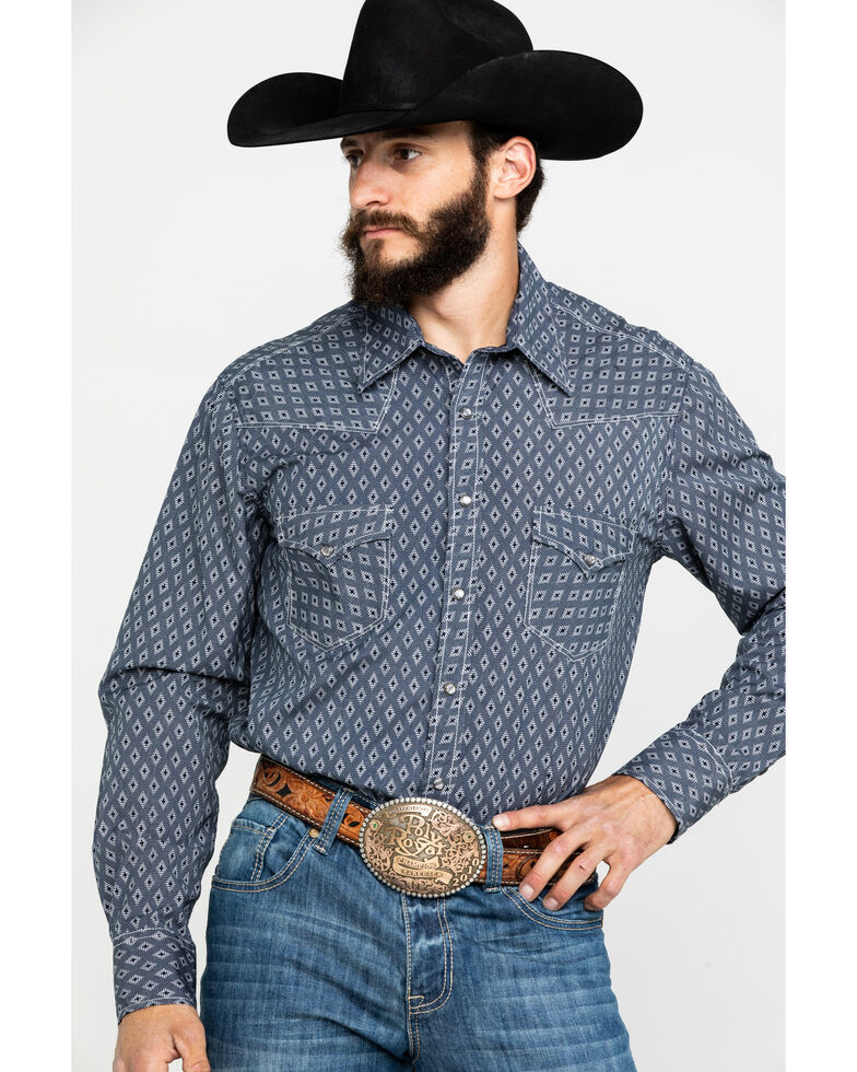 Rock & Roll Cowboy Men's Crinkle Diamond Geo Print Long Sleeve Western Shirt , Navy, hi-res