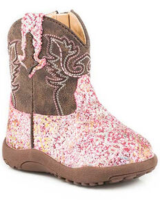 Roper Infant Girls' Glitter Aztec Western Boots - Round Toe, Pink, hi-res