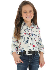 Wrangler Girls' Floral Snap Long Sleeve Western Shirt , White, hi-res