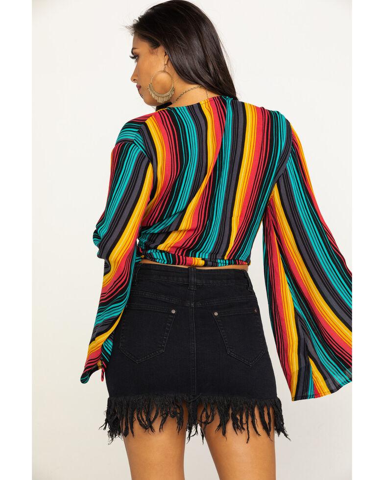 Rock & Roll Cowgirl Women's Serape Surplice Wrap Bell Sleeve Top, Multi, hi-res