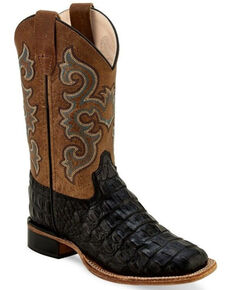 Old West Boys' Faux Gator Western Boots - Wide Square Toe, Black, hi-res