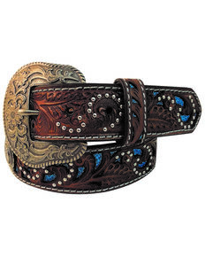 Roper Women's Floral Cutout Tooled Belt , Brown, hi-res