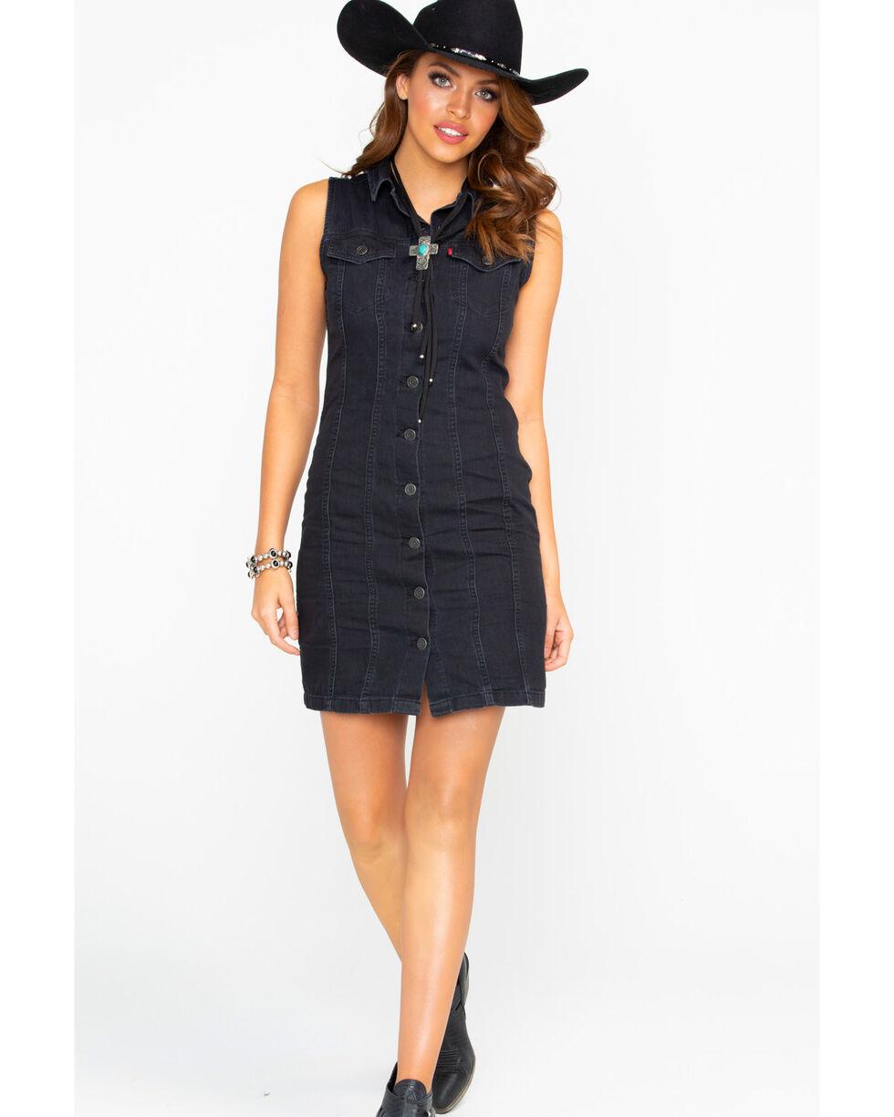 Levis Women's Aubrey Shiny Happy People Sleeveless Dress , Black, hi-res